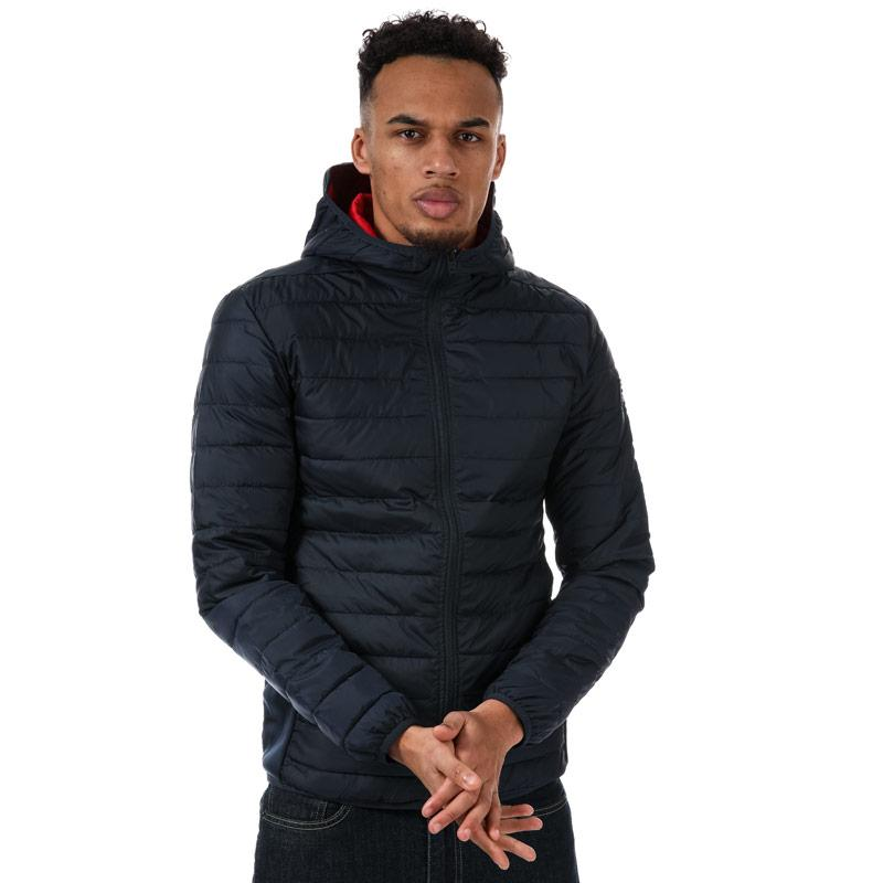Jack Jones Mens Boom Twist Puffer Hooded Jacket Black