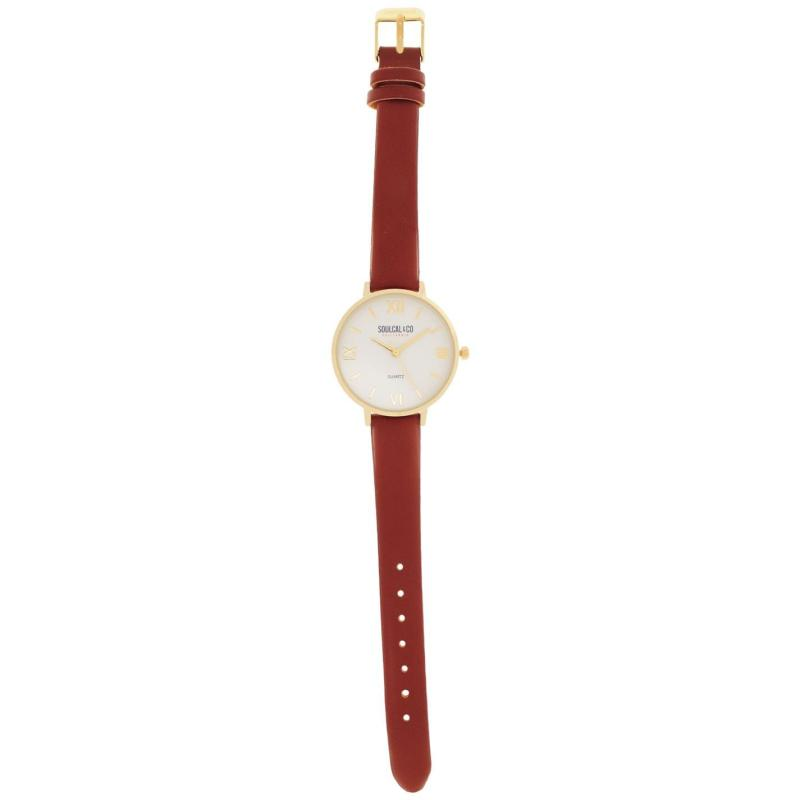 SoulCal Classic Leather Strap Watch Womens Brown/Gold