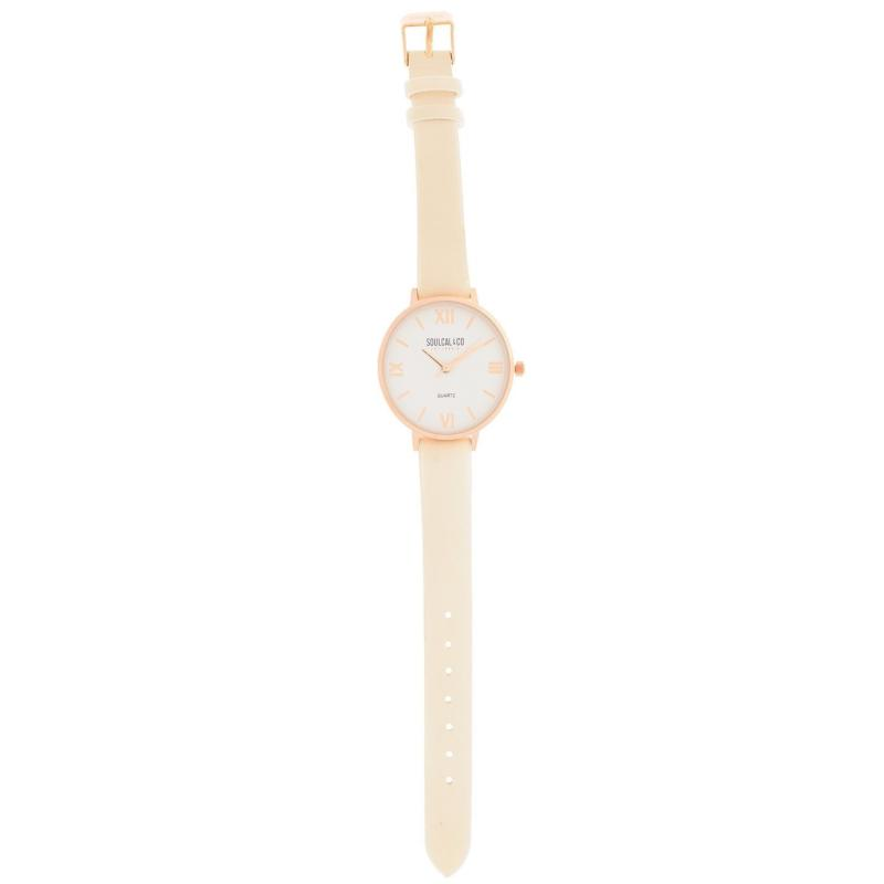 SoulCal Classic Leather Strap Watch Womens Beige/Gold