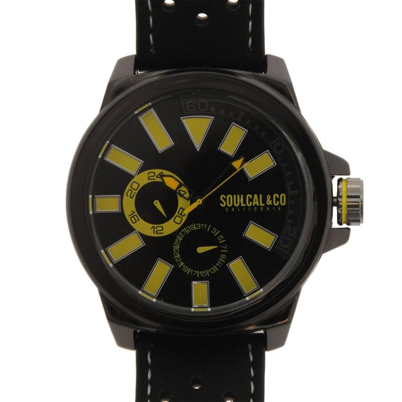 SoulCal Colour Block Watch Mens Black/Yellow