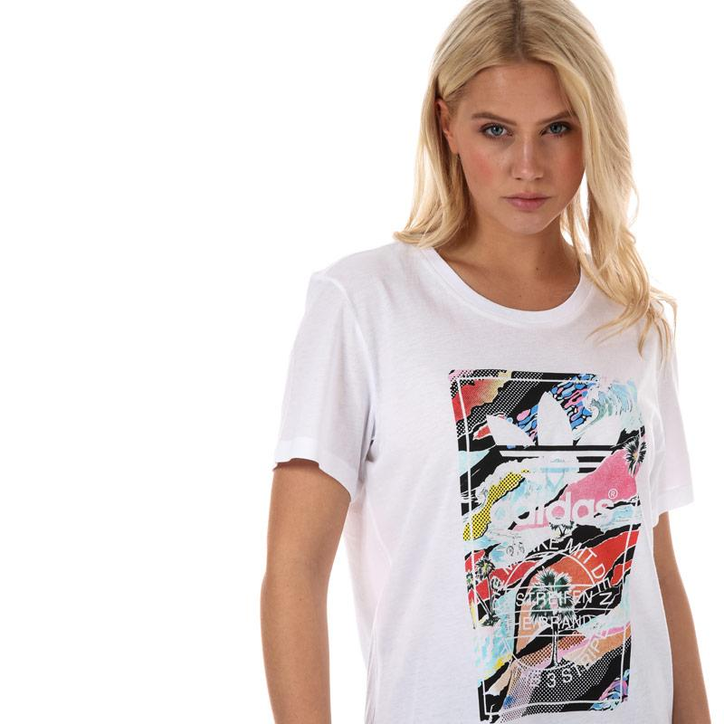 Adidas Originals Womens Tongue Label T-Shirt White
