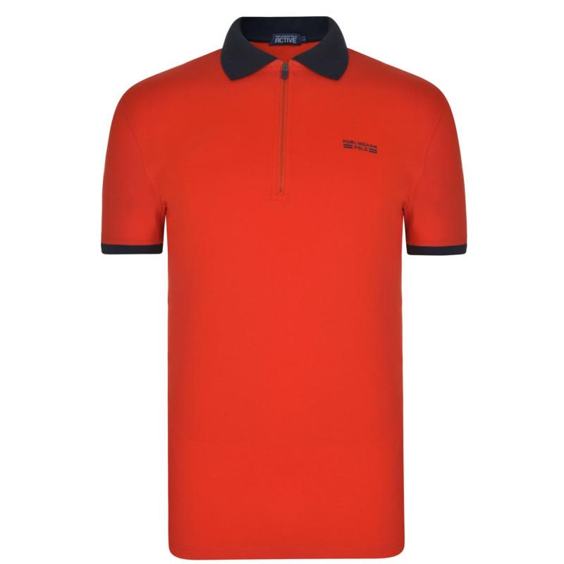 Hurlingham Polo 1875 Neck Polo Shirt Fiery Red