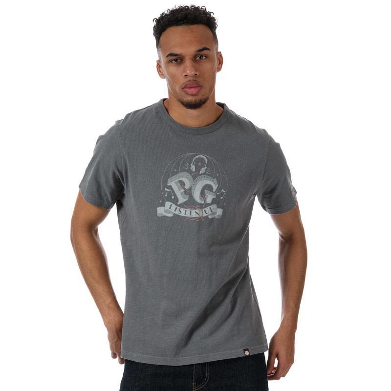 Tričko Pretty Green Mens Listen Up Print T-Shirt Grey