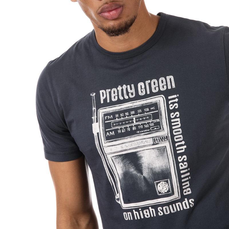 Tričko Pretty Green Mens Radio Print T-Shirt Grey