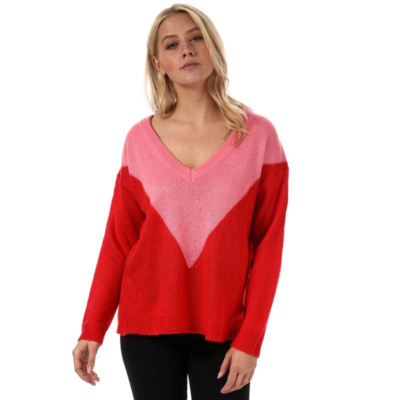 Svetr Brave Soul Womens Chevron Colourblock Jumper Pink