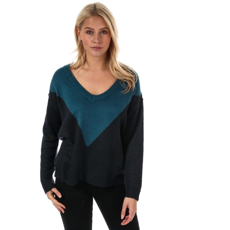 Svetr Brave Soul Womens Chevron Colourblock Jumper Teal