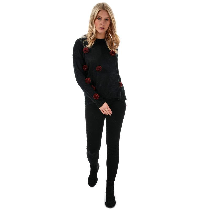 Svetr Brave Soul Womens Tinsel Pom Pom Christmas Jumper Black