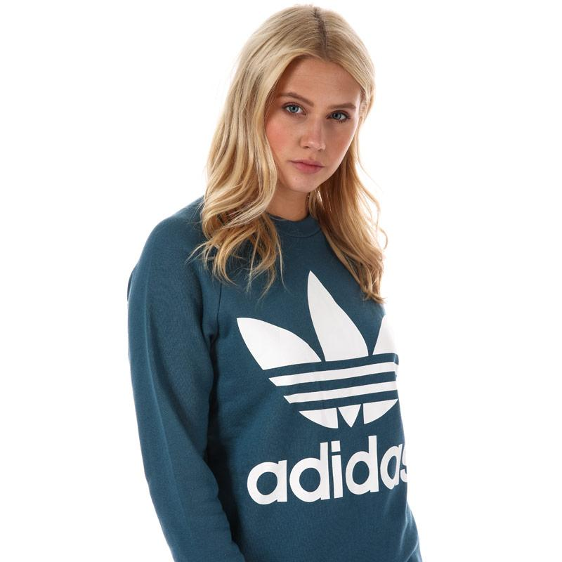Mikina Adidas Originals Womens Trefoil Oversize Sweatshirt Dark Blue
