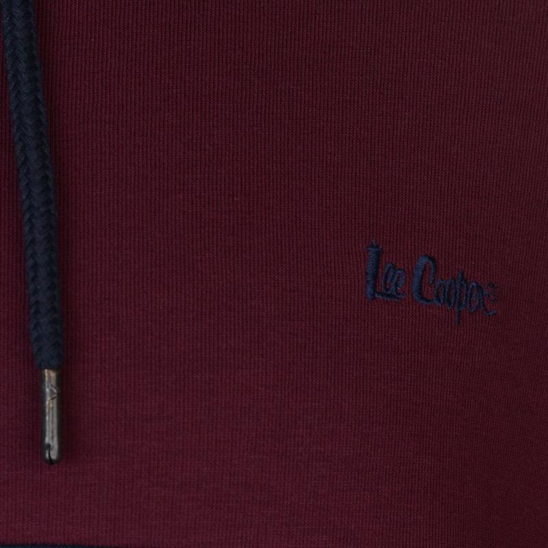 Mikina Lee Cooper Cut and Sew OTH Hoody Mens Navy/Burgundy