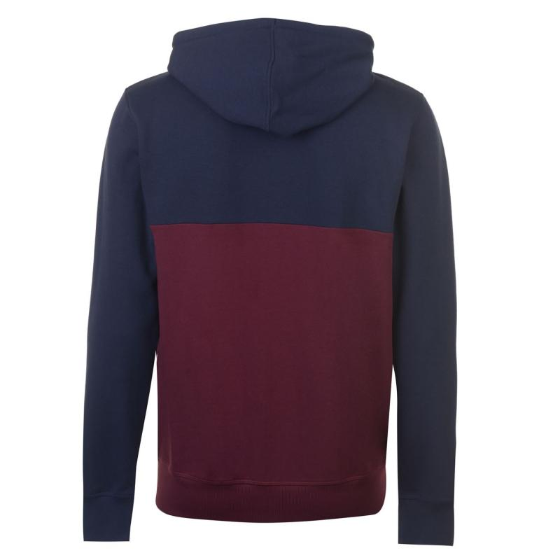 Mikina Lee Cooper Cut and Sew Zip Hoody Mens Navy/Burgundy