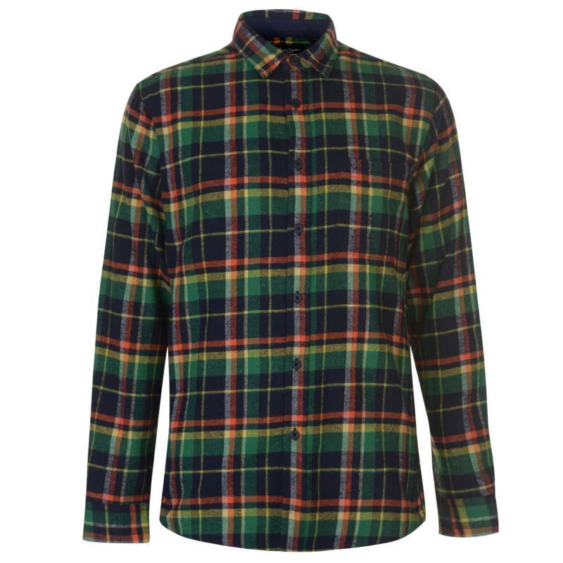 Pierre Cardin Long Sleeve Check Shirt Mens Nvy/Grn/Orange