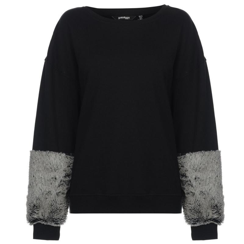 Mikina Golddigga Faux Fur Sleeve Sweater Ladies Black