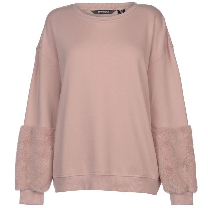 Mikina s kapucí Golddigga Faux Fur Sleeve Sweater Ladies Blush