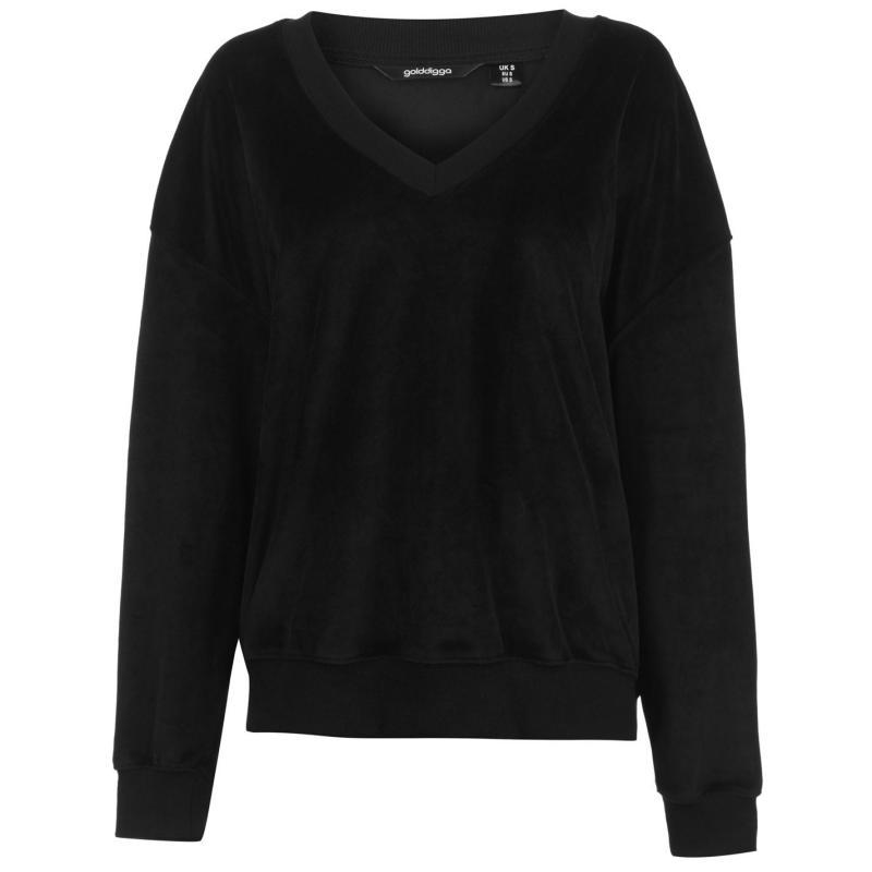 Mikina s kapucí Golddigga Velour Sweater Ladies Black
