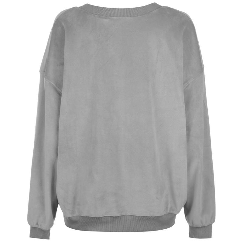 Mikina Golddigga Velour Sweater Ladies Grey Velikost - 16 (XL)