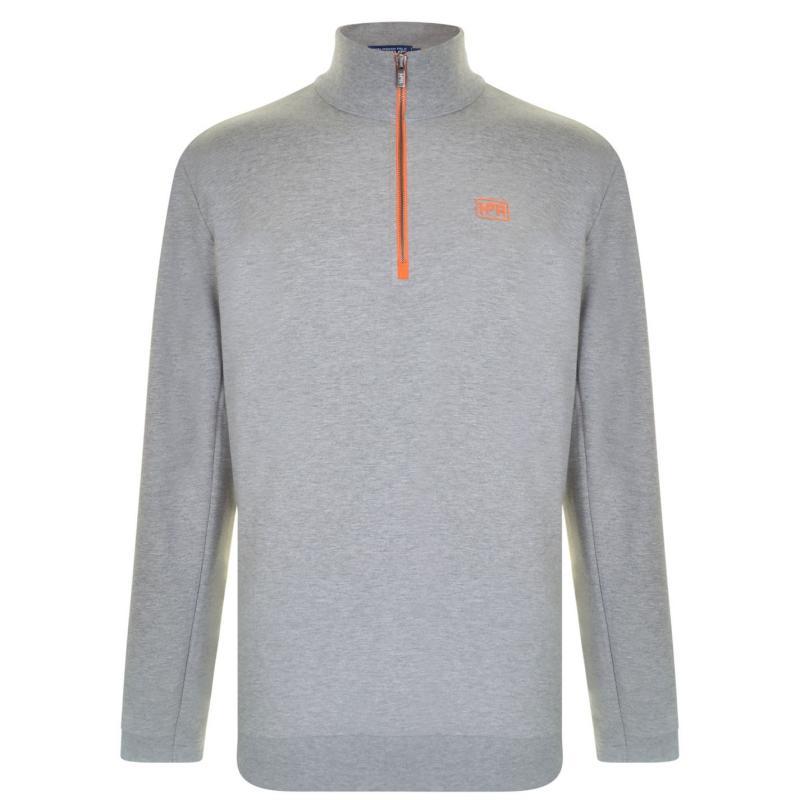 Mikina Hurlingham Polo 1875 Quarter Zip Sweat Grey M/Orange