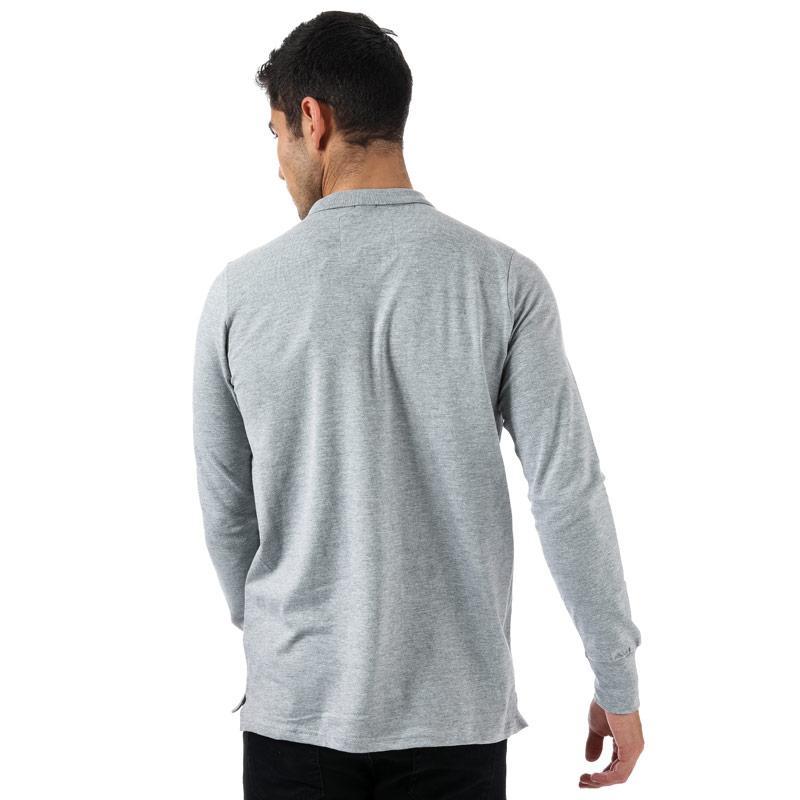 Tokyo Laundry Mens Cosenza Long Sleeve Polo Shirt Light Grey