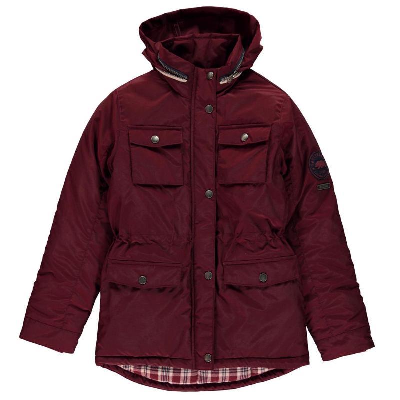 SoulCal Padded Parka Jacket Junior Girls Burgundy