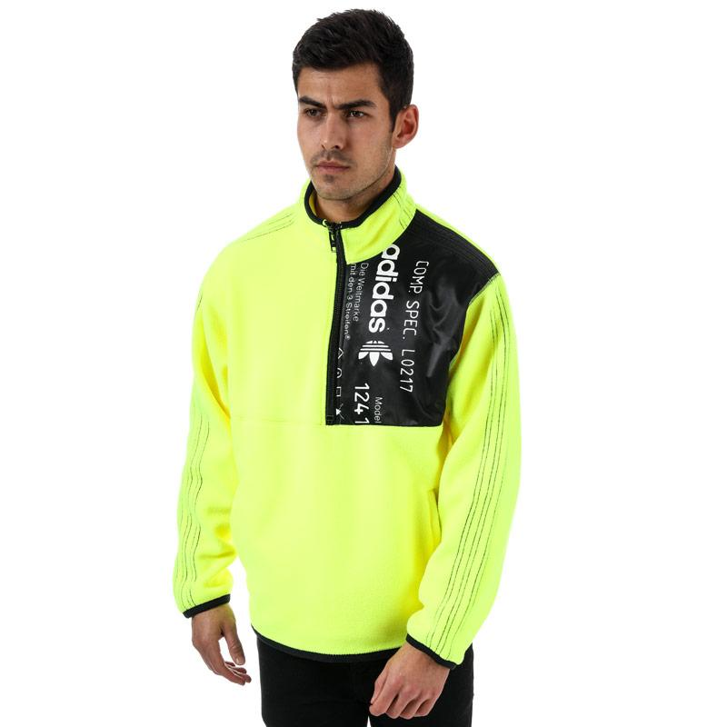 Mikina Adidas Originals Mens Alexander Wang Polar Half Zip Top Yellow