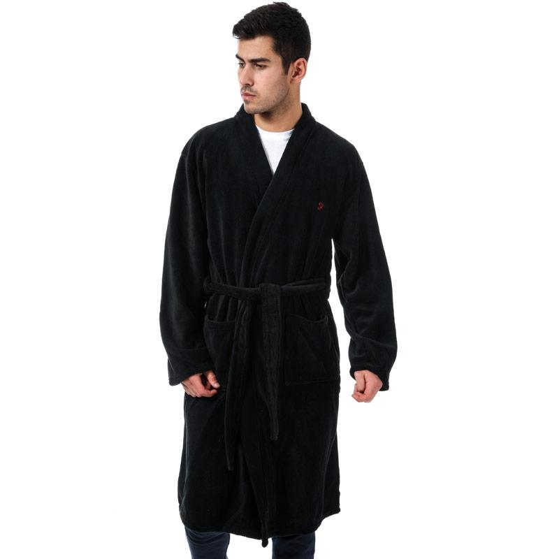 Pyžamo Farah Mens Dawn Fleece Dressing Gown Black