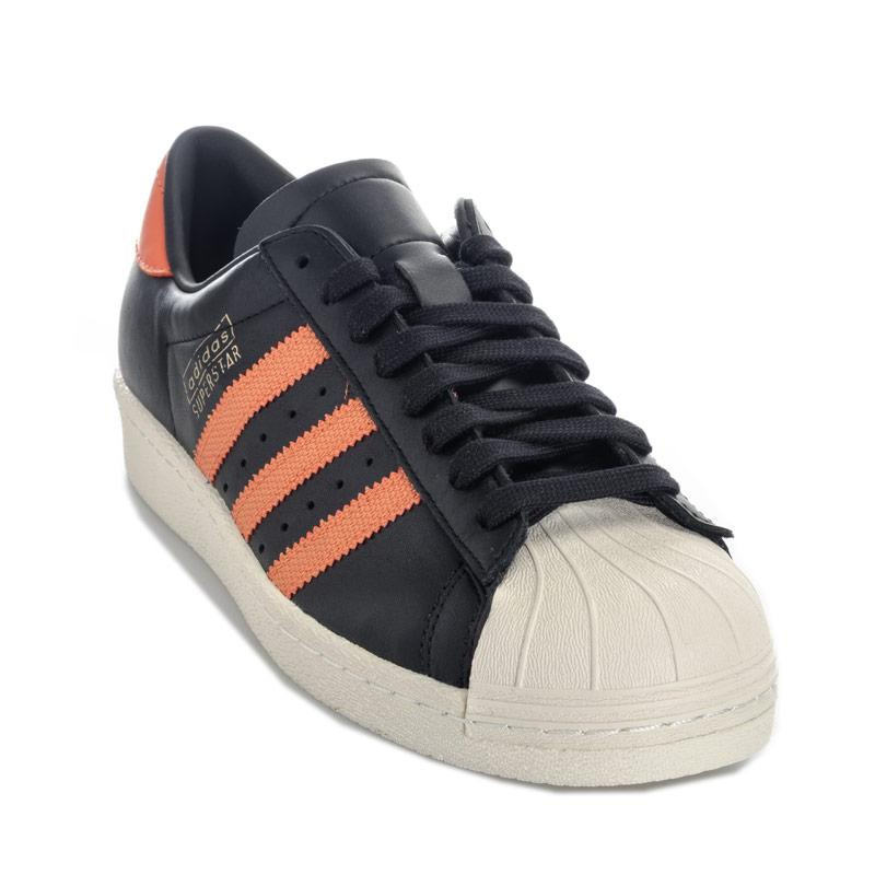 Adidas Originals Mens Superstar OG Trainers black orange