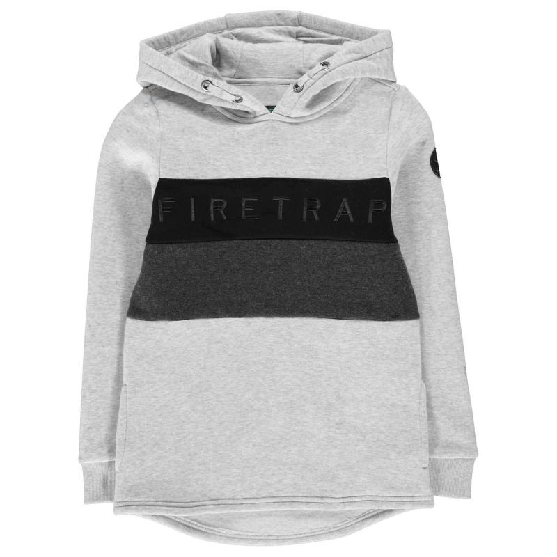 Mikina Firetrap Graphic OTH Hoody Infant Boys Grey Marl/Black