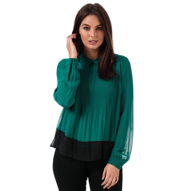 Vero Moda Womens Lea Plisse Long Sleeve Top Green