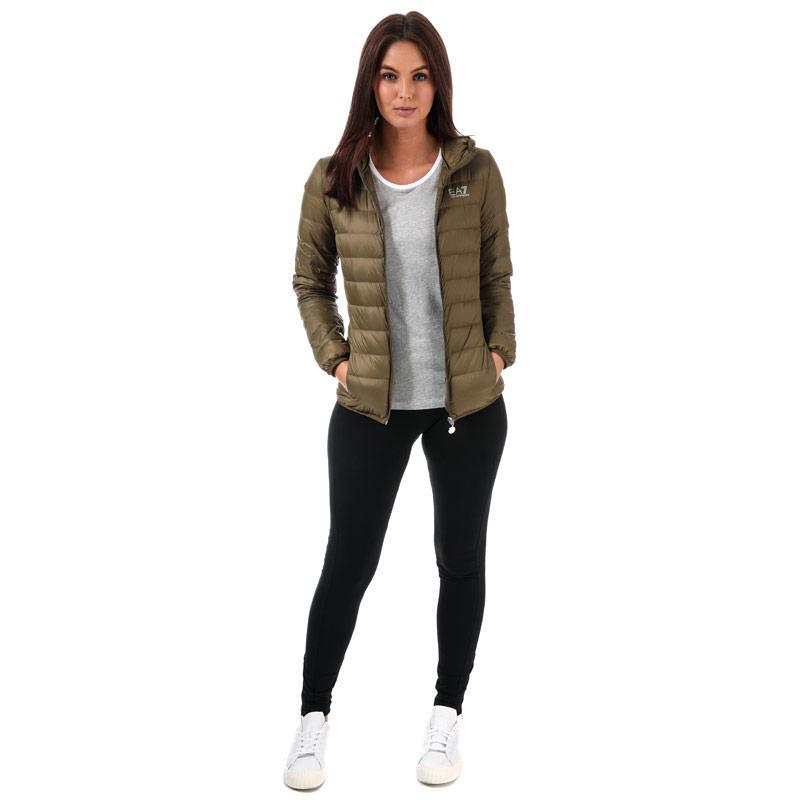 Emporio Armani EA7 Womens Logo Down Jacket Khaki