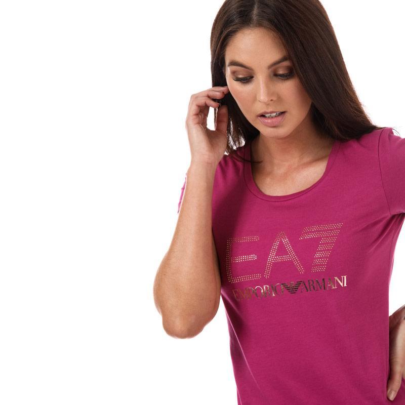 Emporio Armani EA7 Womens Stretch Cotton T-Shirt Pink
