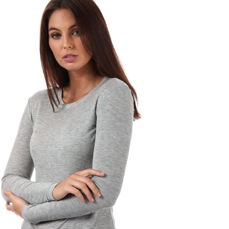 Vero Moda Womens Vita Long Sleeve Top Light Grey