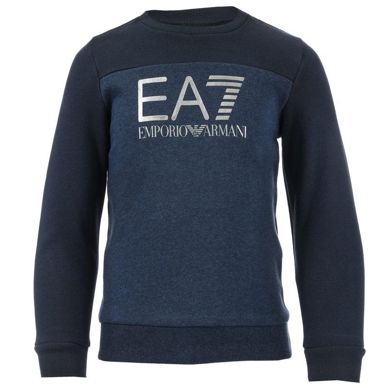 Mikina Emporio Armani EA7 Junior Boys Train Tritonal ID Crew Sweat Blue
