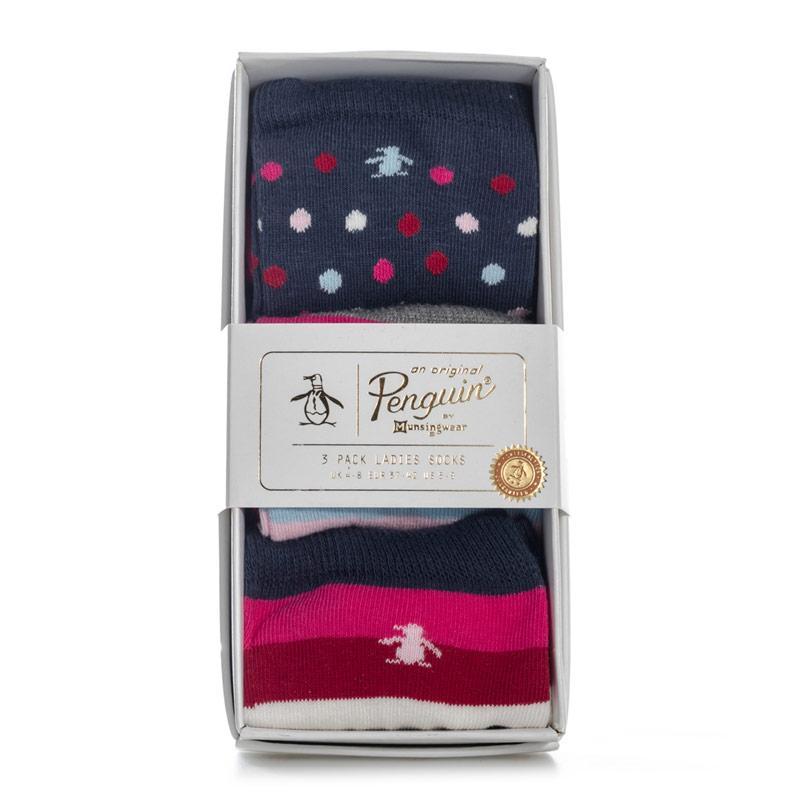 Ponožky Original Penguin Womens 3 Pack Socks Gift Set Pink