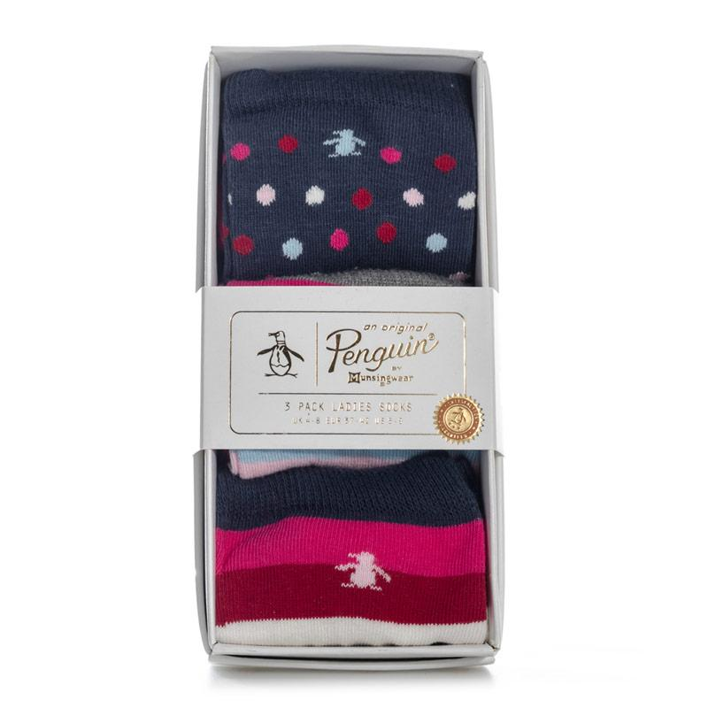 Ponožky Original Penguin Womens 3 Pack Socks Gift Set Navy