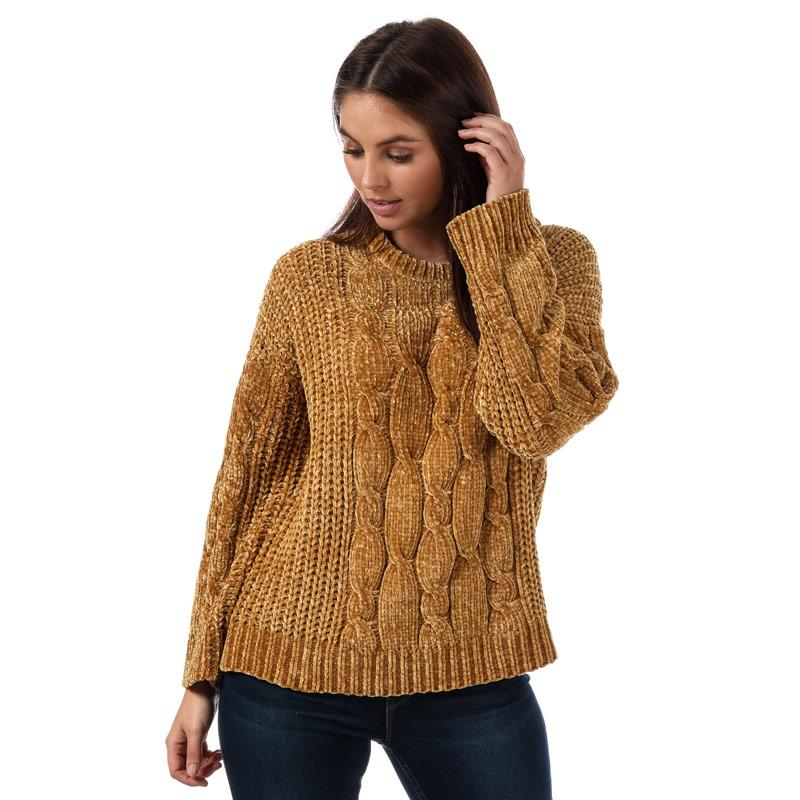 Svetr Brave Soul Womens Cable Knit Chenille Jumper Mustard