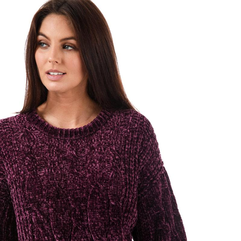 Svetr Brave Soul Womens Cable Knit Chenille Jumper Berry