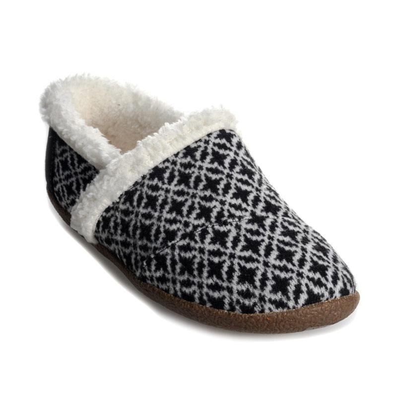 Toms Womens Fair Isle Slippers Black-White