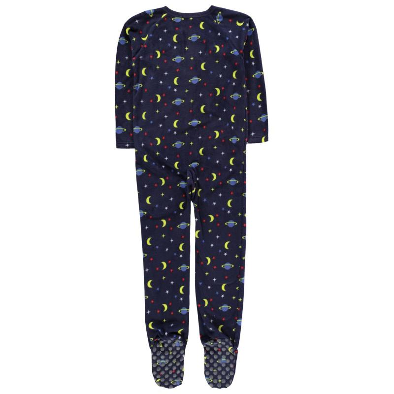 Pyžamo Crafted Fleece Navy Star and Planet Onesie Junior Navy Boys