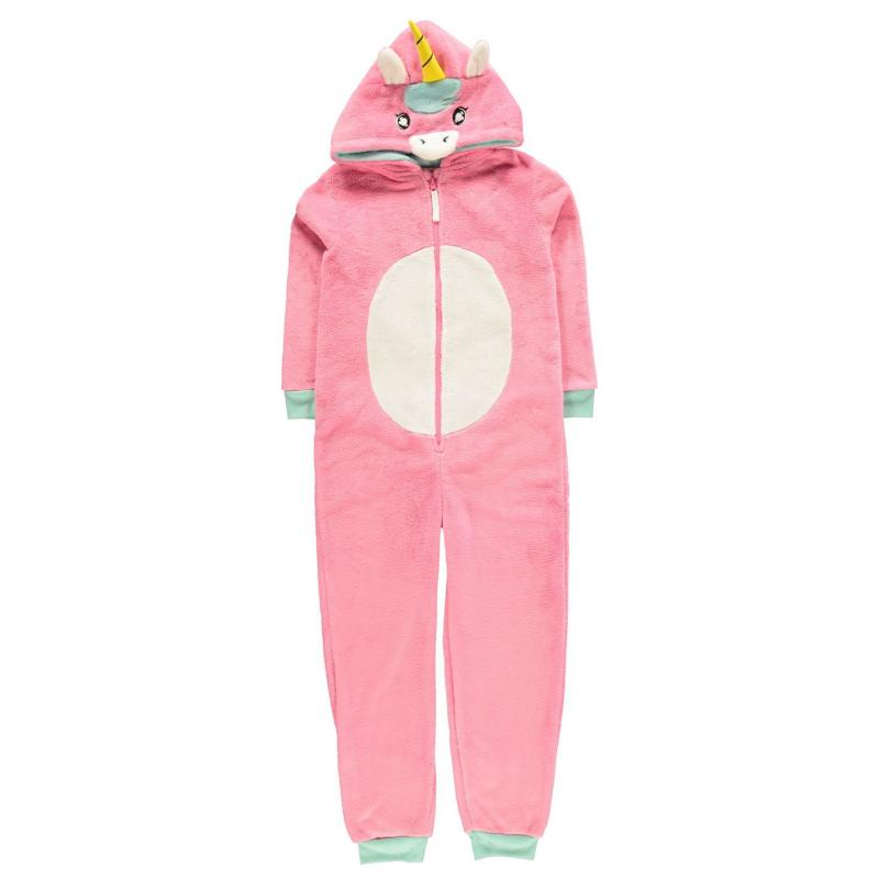 Crafted Girls Pink Dinosaur Onesie Junior Unicorn