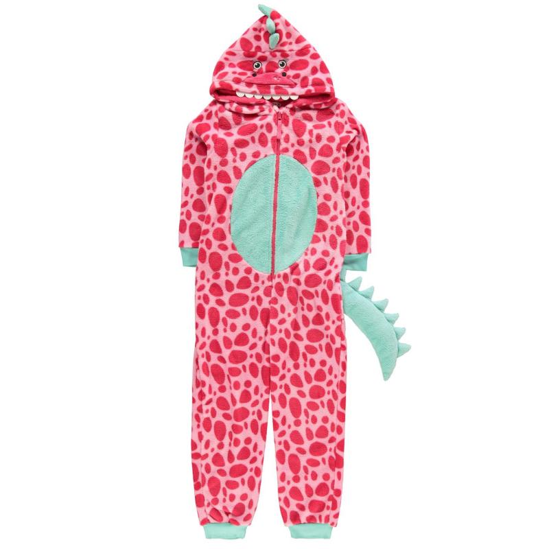 Crafted Girls Pink Dinosaur Onesie Junior Pink Dino