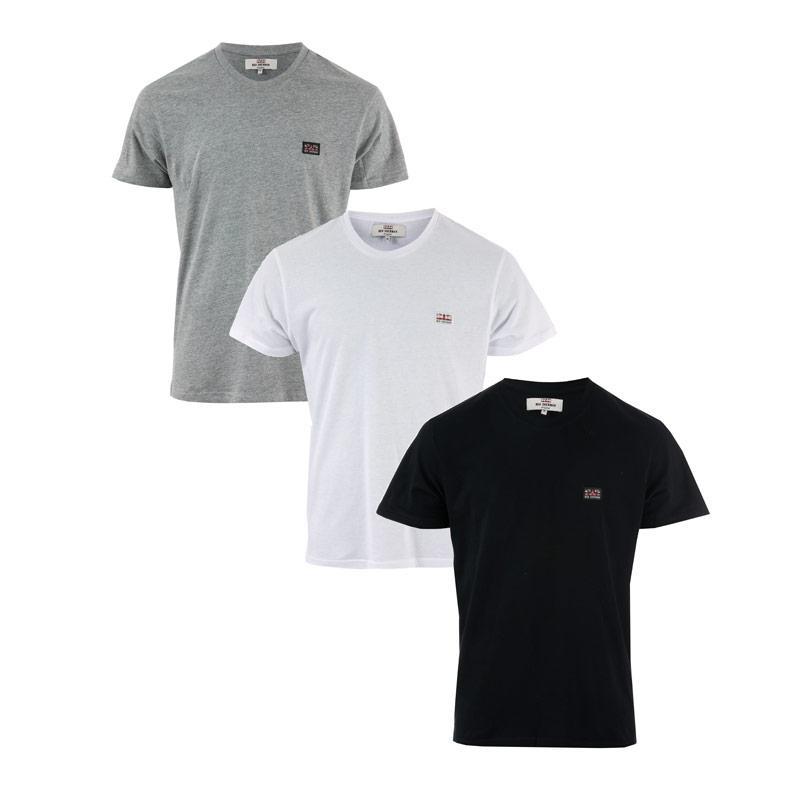 Tričko Ben Sherman Mens Baxter 3 Pack T-Shirt Black Grey White