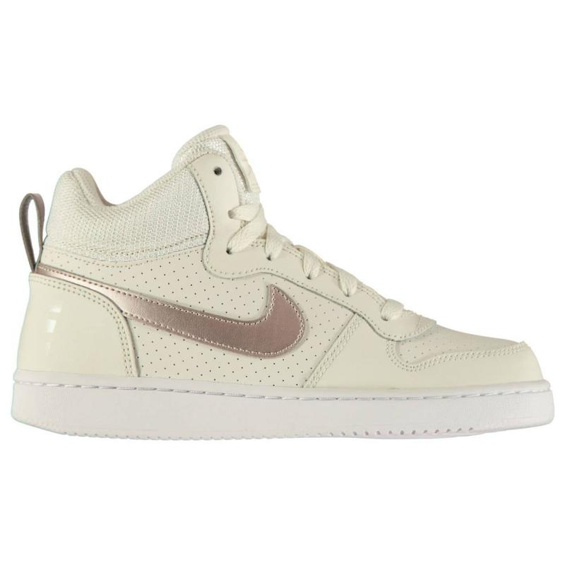Nike Court Borough Junior Girls Mid Top Trainers Grey/Bronze