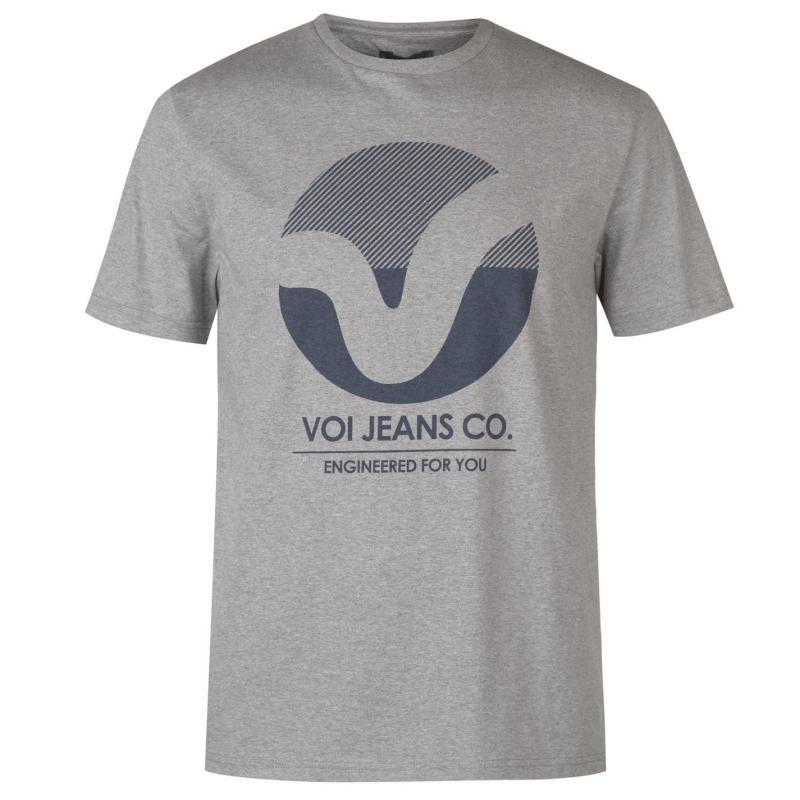 Tričko VOI Front Logo T Shirt Mens Grey Marl