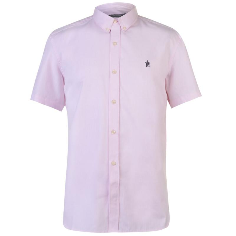 French Connection Oxford Short Sleeve Shirt Mens Pink Soft