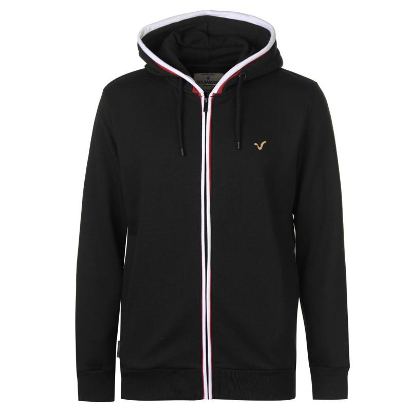 Mikina VOI Contrast Piped Hoodie Mens Black