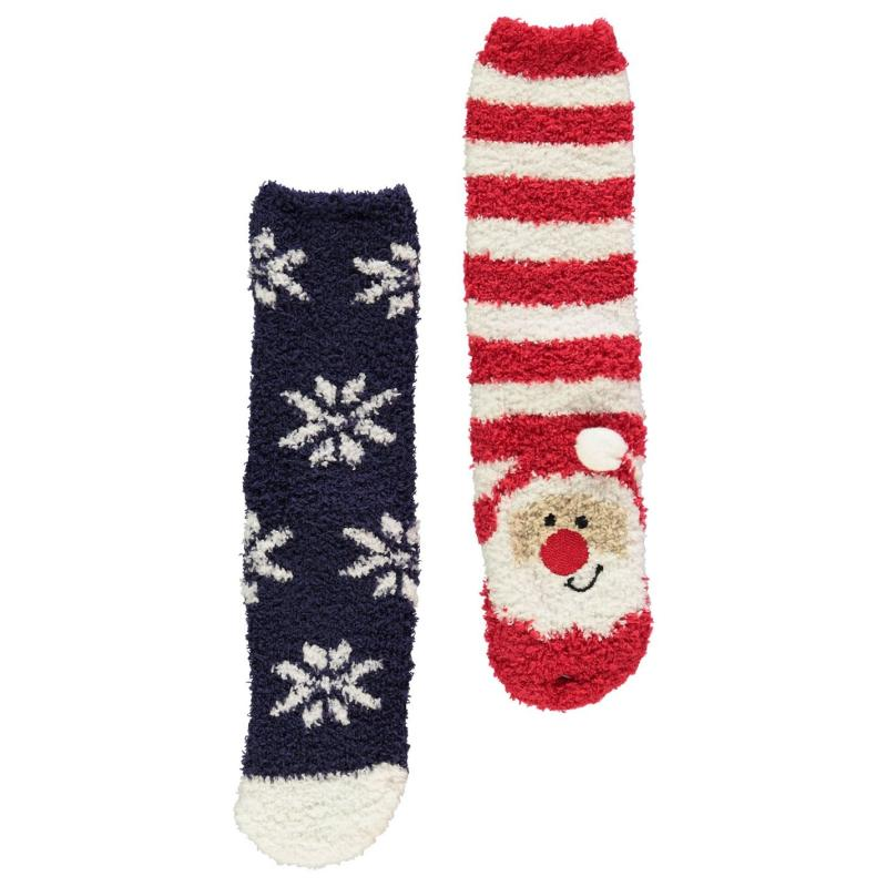 Ponožky The Spirit Of Christmas 2 Pack Xmas Cosy Socks Child Boys Red/Navy Santa
