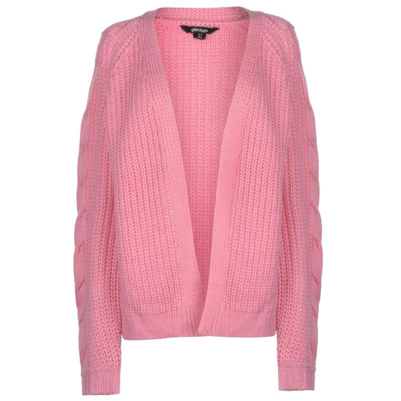 Svetr Golddigga Cable Knit Cardigan Ladies Black