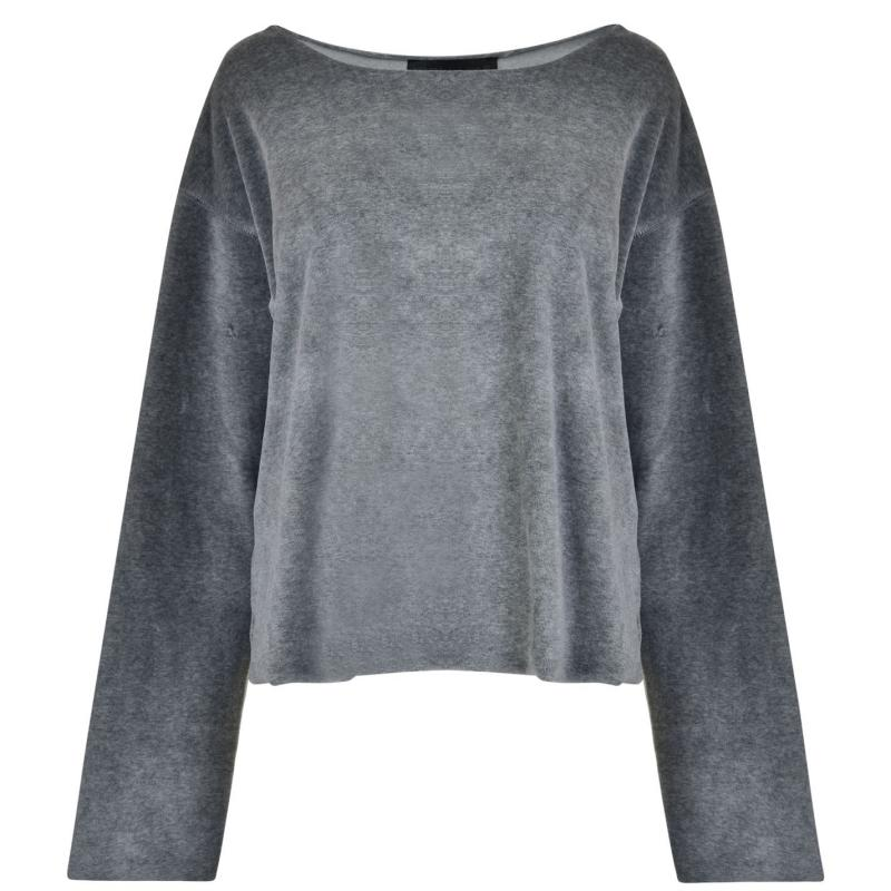 Mikina Kendall and Kylie Off The Shoulder Jumper Heather Grey