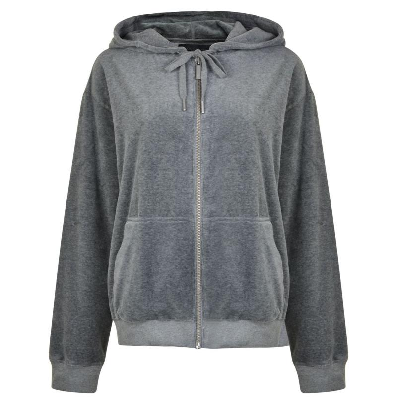 Mikina Kendall and Kylie Velour Zipped Hooded Jacket Heather Grey