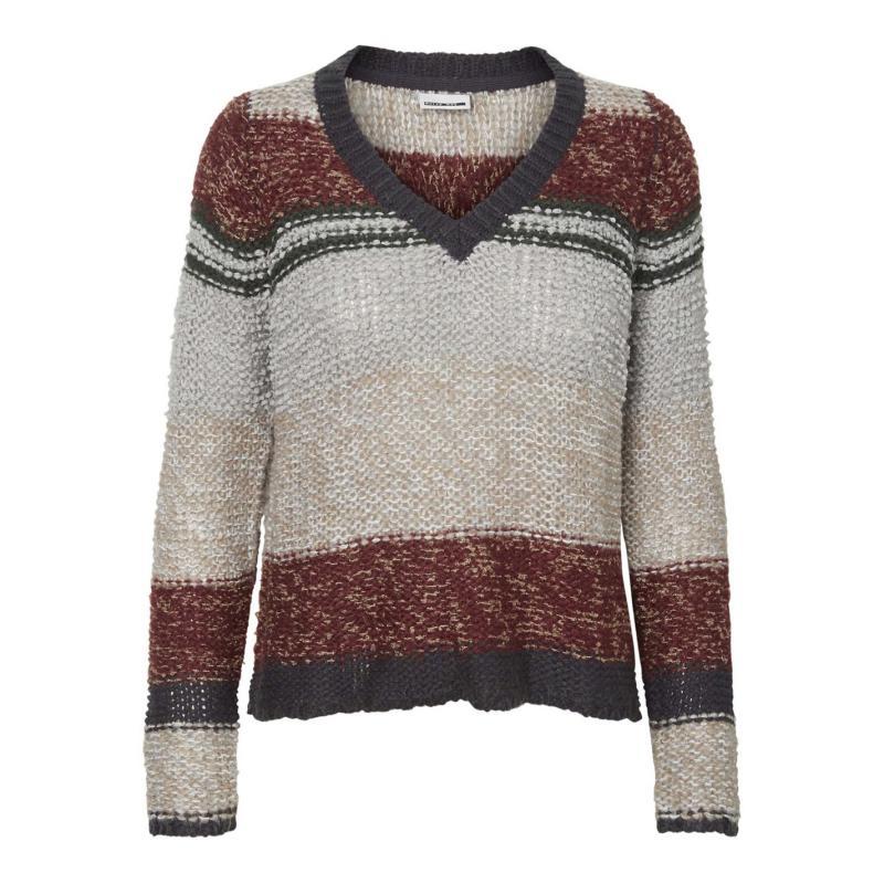 Svetr Noisy May Cashmere Knit Jumper Grey/Burg