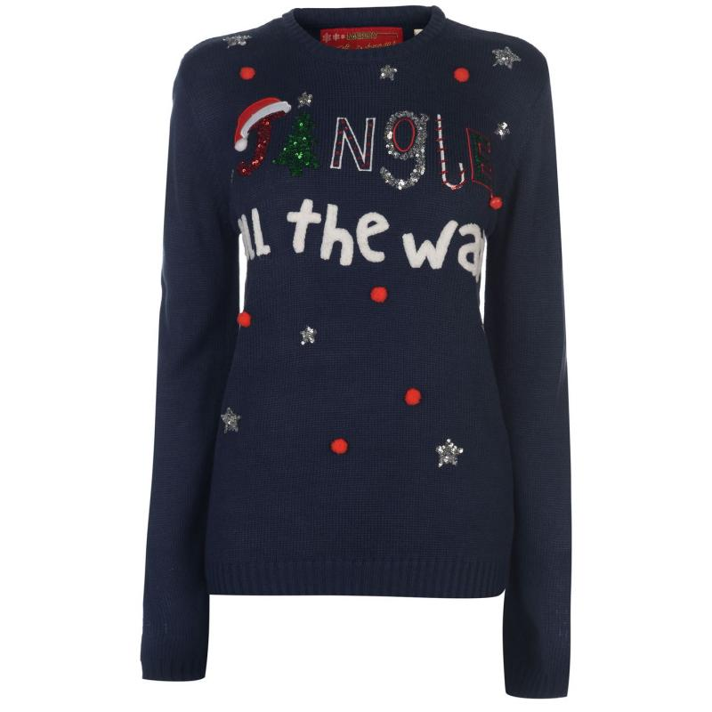 Svetr Star Christmas Knitted Jumper Ladies Navy - Jingle